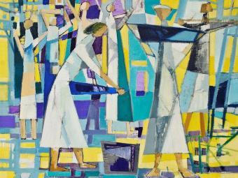 Uma das obras da mostra é No Cafezal, óleo sobre tela de 1956 - Foto: Márcio Fischer   Divulgação