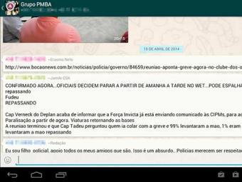 Grupo da PMBA, no Whatsapp - Foto: Reprodução