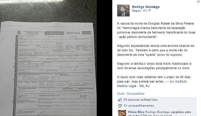 Laudo divulgado nas redes sociais pelo advogado do dançarino DG - Foto: Reprodução | Facebook