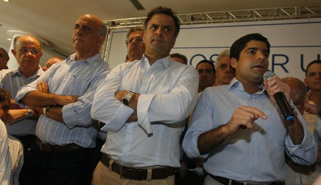 Paulo Souto, Aécio Neves e ACM Neto no lançamento da chapa oposicionista - Foto: Marco Aurélio Martins | Ag. A TARDE