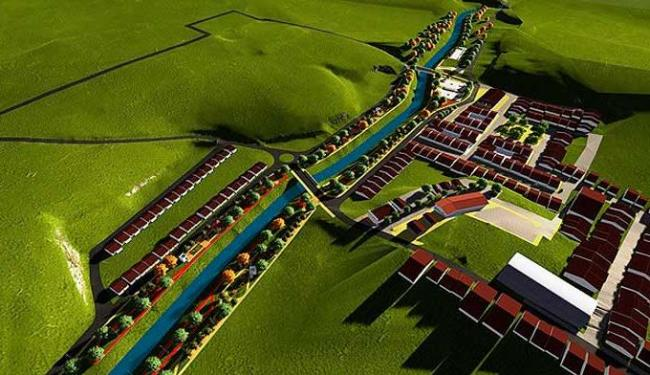 Vista simulada da cidade de Lajedinho após reconstrução - Foto: Secom | GOVBA