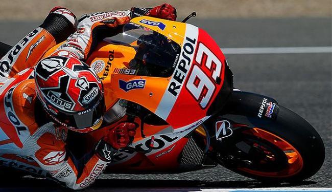 O espanhol Marc Márquez (Honda), líder do campeonato, ficou em terceiro - Foto: Marcelo del Pozo l Reuters