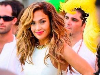 Jennifer Lopez durante gravação do clipe da música