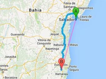 Acidente aconteceu próximo a cidade de Itabela, a 700 km de Salvador - Foto: Google Maps | Reprodução