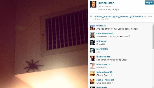 Jogador brincou dizendo que não iria dormir após achar aranha - Foto: Reprodução | Instagram
