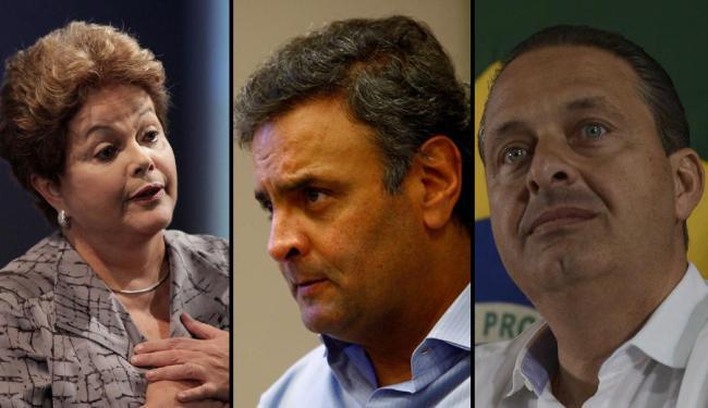 Pesquisa Datafolha indica recuo de candidatos à presidência: Campos (-4%), Dilma (-3%) e Aécio (-1%) - Foto: Montagem | Ag. A TARDE