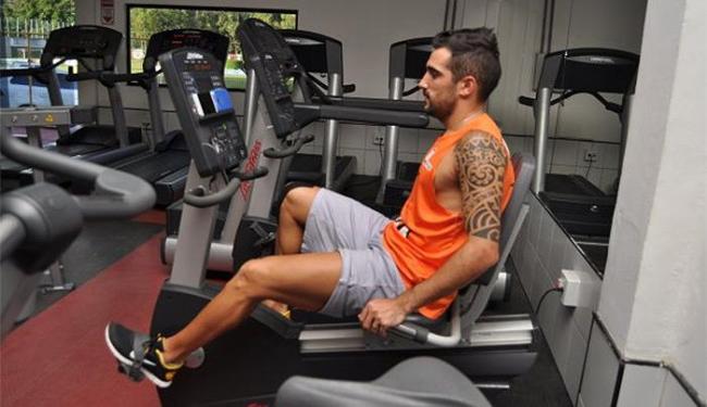 Escudero durante sessão de exercício na academia do clube - Foto: Divulgação l E.C. Vitória