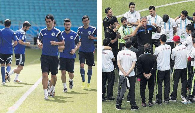 Jogadores da Bósnia fazem treino de reconhecimento na Fonte; Iranianos se reúnem no Barradão - Foto: Raul Spinassé | Ag. A TARDE | e Agência Reuters