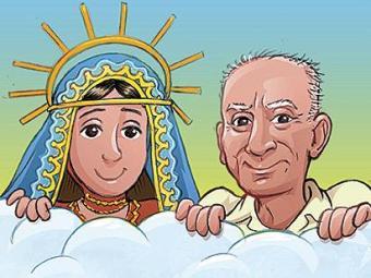 Nossa Senhora e Ariano Suassuna no desenho de Mauricio de Sousa - Foto: Divulgação