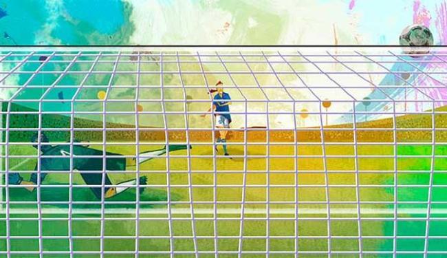 Ilustração descreve a cobrança de pênalti do italiano Roberto Baggio na final da Copa de 1994 - Foto: Divulgação