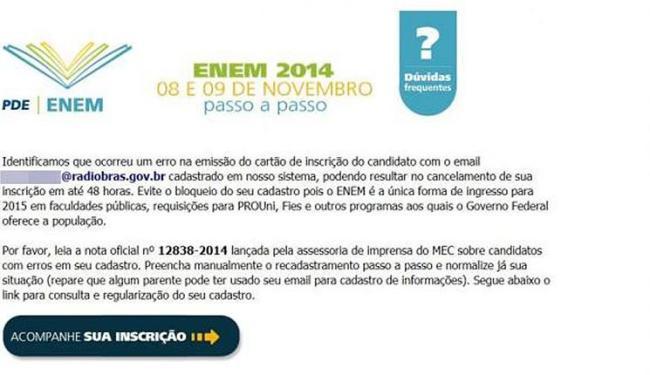 E-mail falso sobre Enem é usado para enganar internautas - Foto: Reprodução