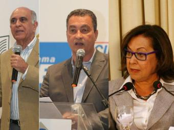 Paulo Souto (DEM) lidera, seguido por Rui (PT) e Lídice (PSB), de acordo com pesquisa - Foto: Luciano da Mata e Fernando Amorim  Ag. A TARDE