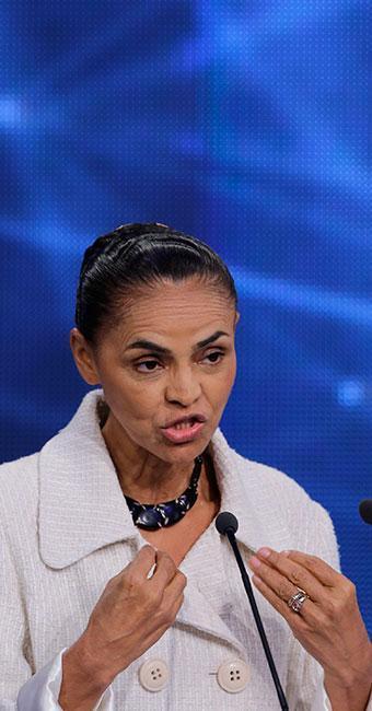 Marina durante o debate na Band - Foto: AP
