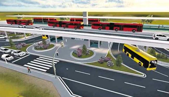 Não terá semáforos e cruzamentos no trajeto do BRT, como pode ser visto na ilustração - Foto: Divulgação   Prefeitura