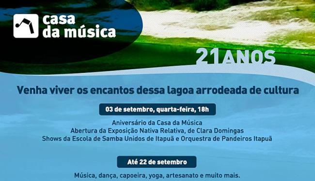 Programação vai do dia 3 até 22 de setembro, em comemoração ao aniversário da Casa da Música - Foto: Divulgação | Secult-BA