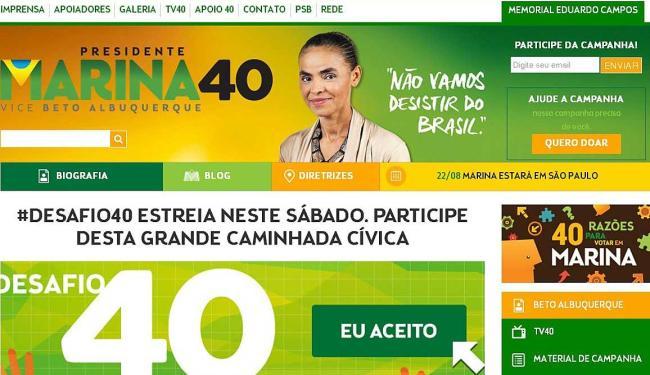 Novo portal da campanha destaca Marina e inclui memorial a Eduardo Campos - Foto: Reprodução