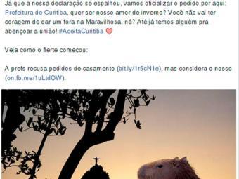 Prefeitura do Rio de Janeiro pede Prefeitura de Curitiba em casamento - Foto: Reprodução | Facebook