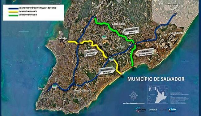 Obra faz parte do Corredor Transversal II, em verde no mapa - Foto: Divulgação   Conder