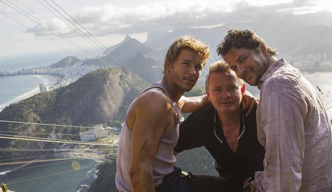 Ryan Kwaten, Stephan Elliott e Marcelo Serrado no Pão de Açúcar - Foto: Gui Maia e Daniel Beh | Divulgação