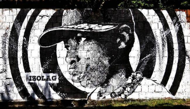 Arte do grafiteiro Izolag, conhecido por utilizar estêncil em grandes proporções - Foto: Arquivo pessoal