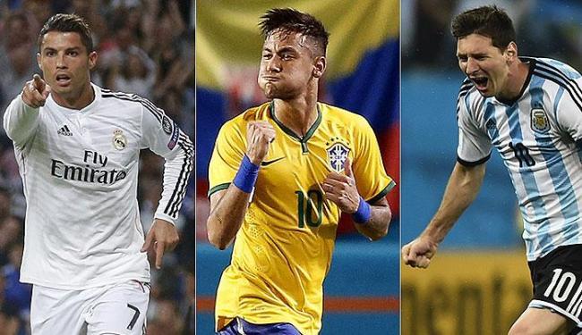 Cristiano Ronaldo, Neymar e Messi estão na lista da Fifa - Foto: Juan Medina e Dylan Martinez l Reuters
