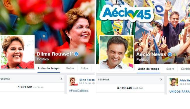 Páginas oficiais de Dilma Rousseff e Aécio Neves no Facebook - Foto: Reprodução