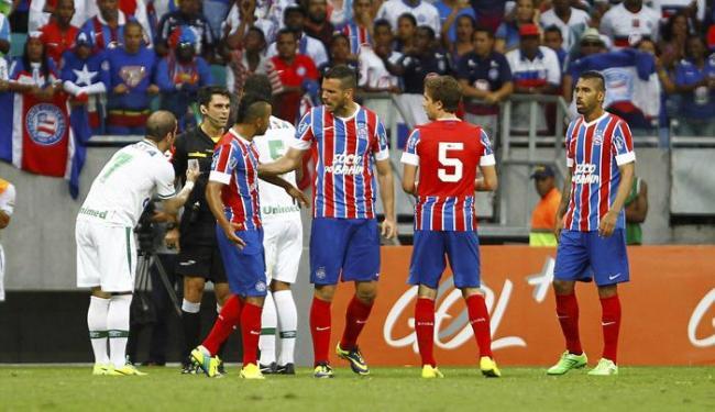 Mesmo com vantagem de ter um homem a mais no segundo tempo, o Bahia não evitou a derrota - Foto: Eduardo Martins   Ag. A TARDE