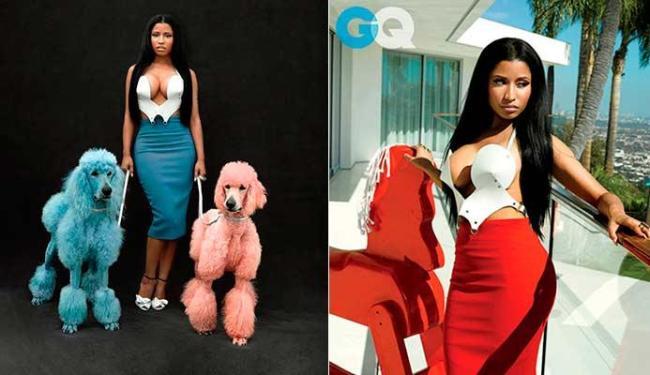 Nicki Minaj mostrou apenas um dos atributos com o decote - Foto: Divulgação | GQ