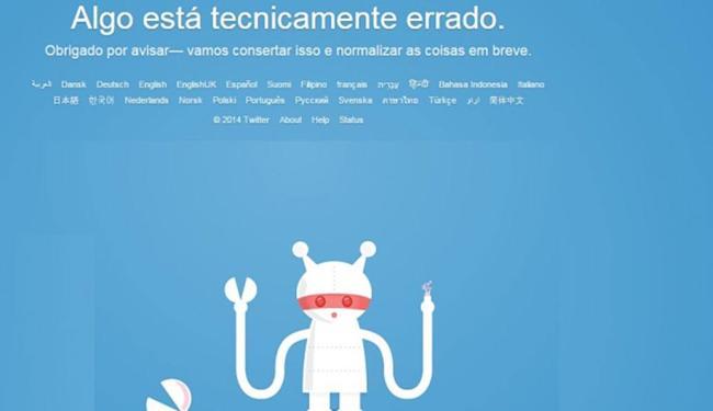 Banner na página inicial da rede social informava o problema - Foto: Reprodução