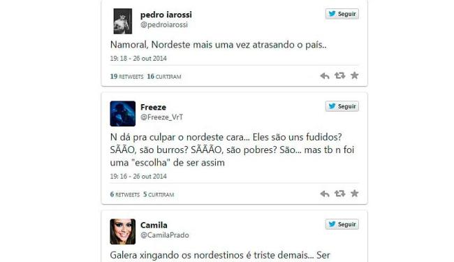 Posts no Twitter mostram preconceito contra os Nordestinos que apoiaram a Dilma Rousseff (PT) - Foto: Twitter | Reprodução