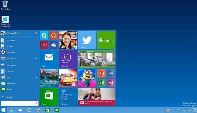 Tela inicial do Windows 10 - Foto: AP Photo