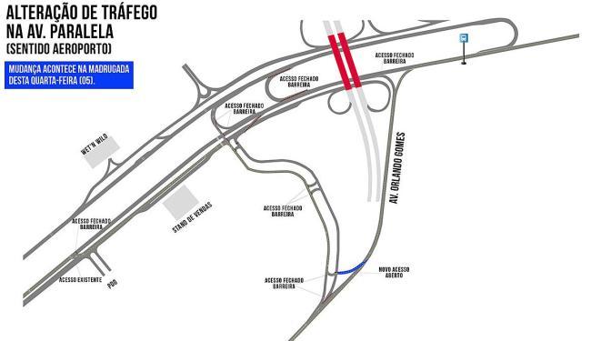 Veja onde o tráfego será alterado na região da avenida Paralela - Foto: Divulgação