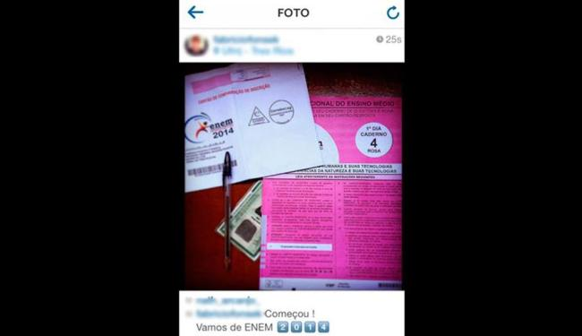 Candidato postou no Instagram foto do caderno de provas, cartão de respostas, RG e caneta preta - Foto: Reprodução   Instagram