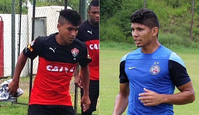 Nickson, do Vitória, e Jeam, do Bahia, durante treino: Ba-Vi será repleto de promessas para o profis - Foto: Divulgação l E.C. Vitória e E.C. Bahia