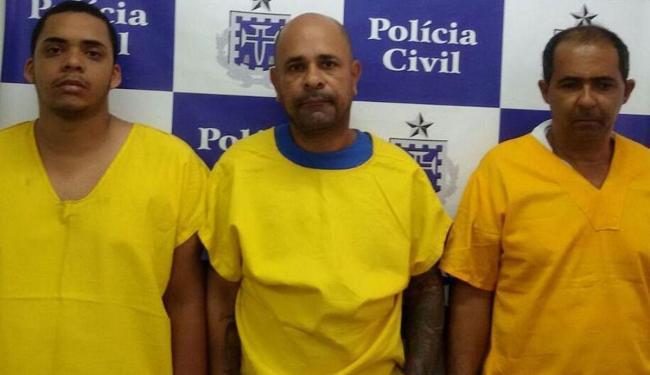 Os integrantes da quadrilha Jadson (à esq.), Marco e Edvaldo - Foto: Divulgação   ASCOM Polícia Civil