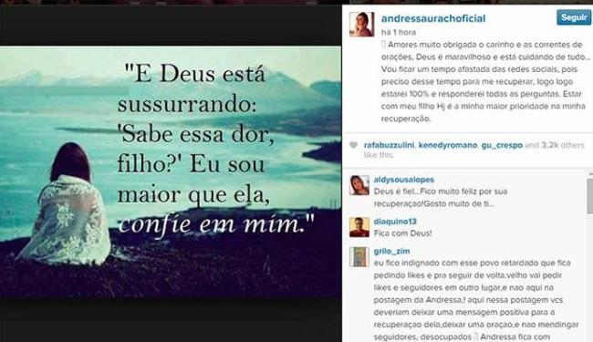 Andressa Urach usou o Instagram para falar com os fãs - Foto: Reprodução