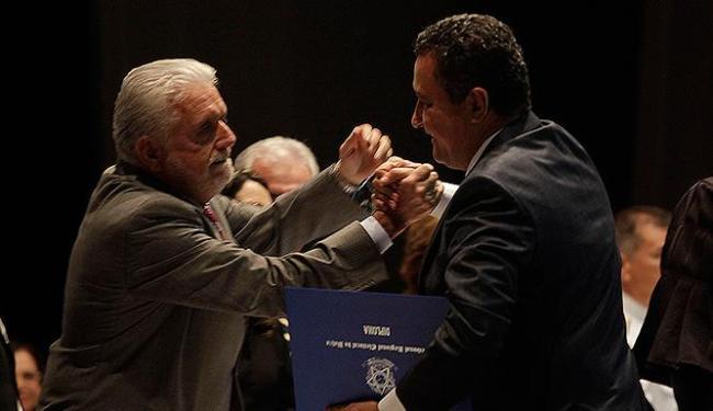 O ex-governador Wagner (e) foi padrinho político que viabilizou a vitória nas urnas de Rui - Foto: Fernando Amorim | Ag. A TARDE