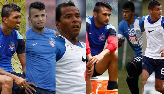 Diego Macedo, Railan, Marcos Aurélio, Kieza e Emanuel e Maxi Biancucchi. estão no DM - Foto: Montagem | Ag. A TARDE
