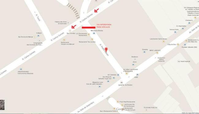 O acesso de veículos na rua Pedro Autran, que liga a rua Carlos Gomes, será fechada - Foto: Divulgação| Transalvador