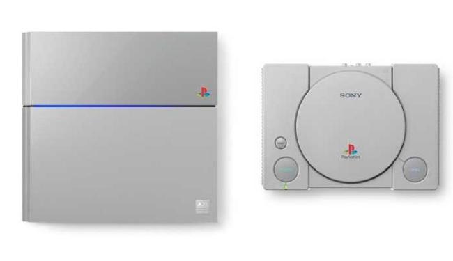 PS4 (E) ganhou as cores do primeiro Playstation, lançado há 20 anos - Foto: Divulgação