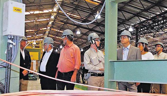 Com a nova máquina, a capacidade de produção de fios de cobre vai aumentar para 80 mil toneladas por - Foto: Mateus Pereira l GOVBA