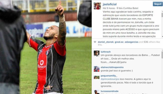 O atacante afirmou que a decisão de permanecer no Joinville não por questão financeira - Foto: Reprodução | Instagram