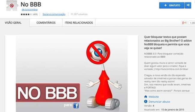 Plugin impede de ver posts sobre o programa no Facebook - Foto: Reprodução