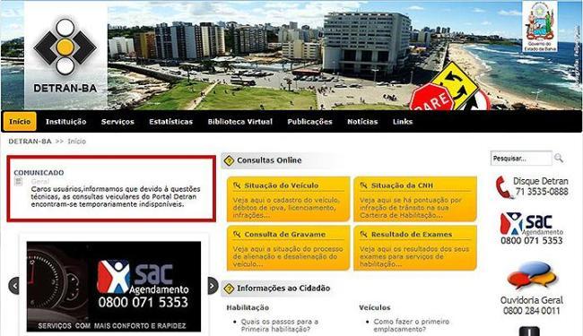 Comunicado no site informa que as consultas sobre veículos estão indisponíveis - Foto: Site do Detran-BA l Reprodução
