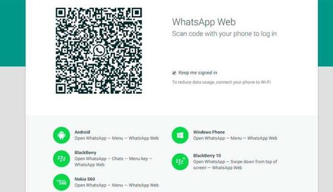 WhatsApp Web já está diponível para Android, BlackBerry e Windows Phone - Foto: Reprodução