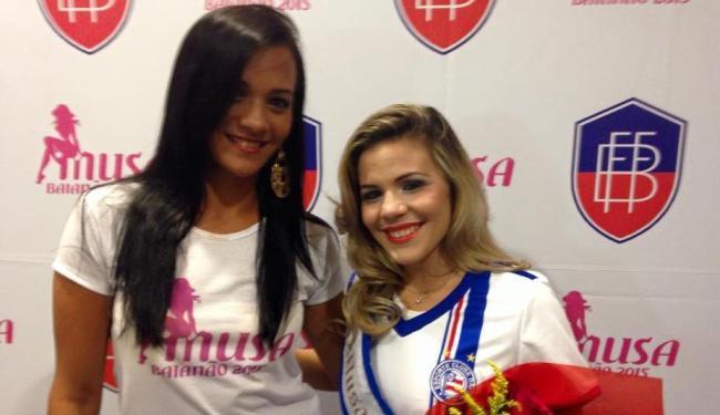 Anne dos Santos (E) deve substituir Carla Havash no concurso de musa do Baianão - Foto: Divulgação | E.C.Bahia