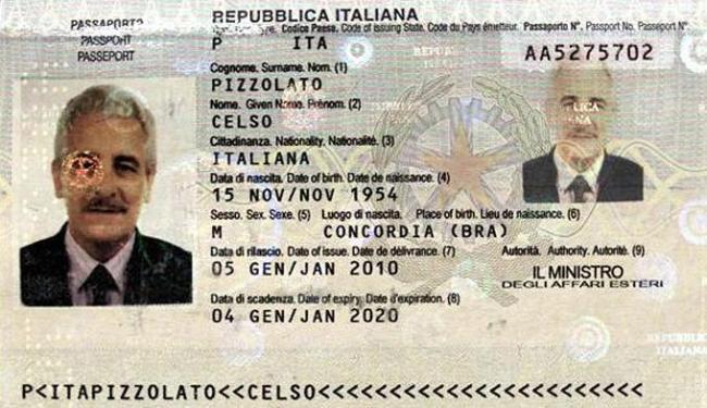 Pizzolato embarcou em novembro de 2013 para a Itália como passaporte do irmão falecido, Celso Pizzol - Foto: Divulgação l Interpol