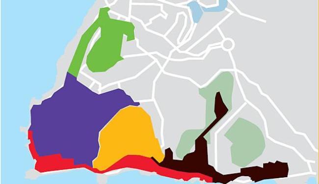 Cada área tem um adesivo com a cor correspondente - Foto: Editoria de Arte | A TARDE