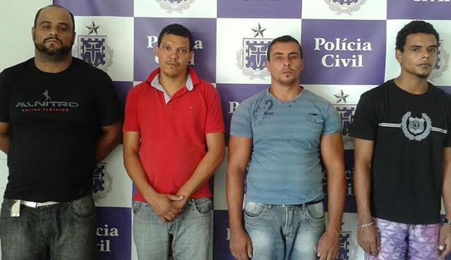 Neuton (esq.),Mário,Luís e Ricardo(dir.) estão presos por envolvimento na morte do lavrador em 2012 - Foto: Divulgação | Polícia Civil