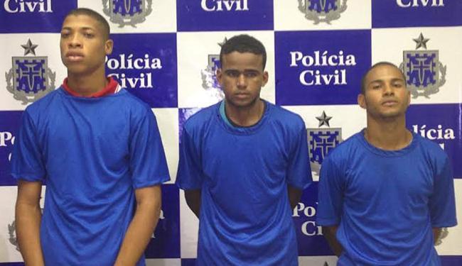 Hugo(esq.)foi preso na última quarta,4. Já Marlon (meio) e Leandro (dir.) foram presos um dia depois - Foto: Divulgação   Polícia Civil